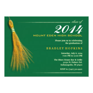 Graduation Invite - Green & Gold Invite