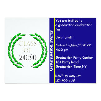 Graduation Laurel Wreath Invitation Template