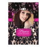 Graduation Leopard Lace Invitation Pink Brown