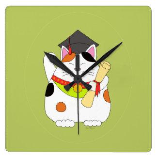 Graduation Maneki Neko Wallclocks