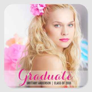 Graduation Modern Photo Sticker Pink