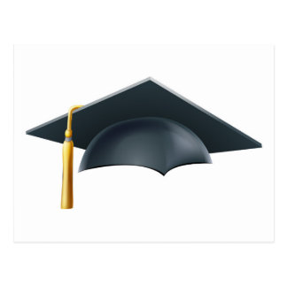Graduation mortar board hat or cap postcard