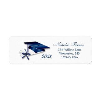 Graduation Mortar cap & diploma Avery Label Return Address Label