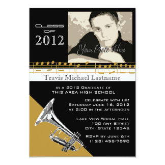 Graduation Music/ Trumpet 13 Cm X 18 Cm Invitation Card