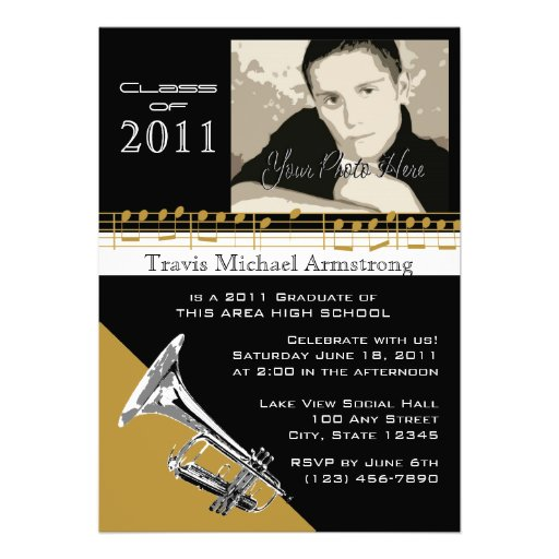 Graduation Music/ Trumpet Personalized Invites