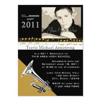 "Graduation Music/ Trumpet 5"" X 7"" Invitation Card"