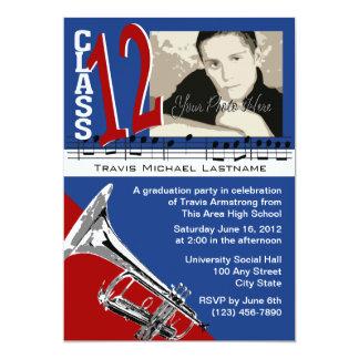 "Graduation Music Trumpet 5"" X 7"" Invitation Card"