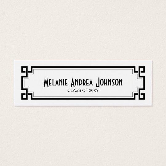 Graduation Name Card Exchange Elegant Black Frame