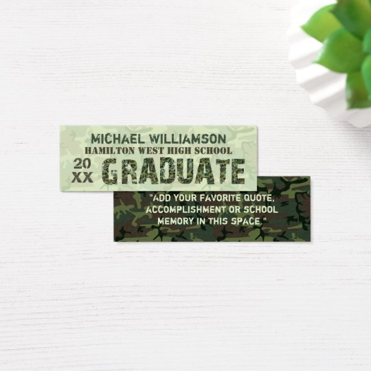 Graduation Name Card Senior Year Insert Camouflage