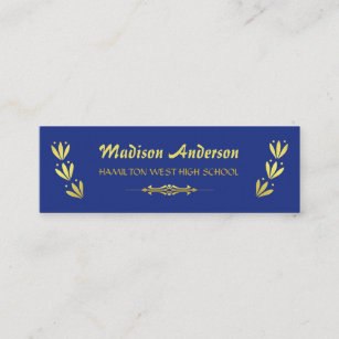 Gold laurel wreaths business cards business card printing zazzle uk graduation name card senior year insert gold blue reheart Images