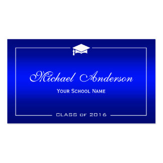 Graduation Name Card - Stylish Plain Blue Gradient Pack Of Standard Business Cards
