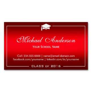 Graduation Name Card - Stylish Plain Red Gradient Magnetic Business Cards