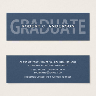 Graduation Name Cards Blue Bold Lettering