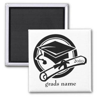 graduation name square magnet