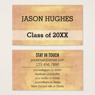 High school student business cards business card printing zazzle uk graduation networking vintage paper personal business card colourmoves