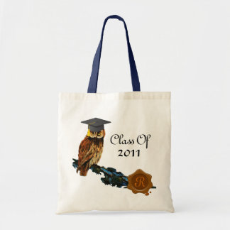 GRADUATION OWL  AND BROWN WAX SEAL MONOGRAM CANVAS BAGS