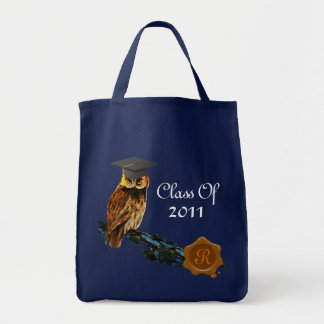 GRADUATION OWL  AND BROWN WAX SEAL MONOGRAM GROCERY TOTE BAG