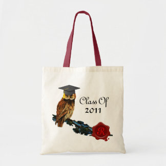 GRADUATION OWL  AND RED WAX SEAL MONOGRAM BUDGET TOTE BAG