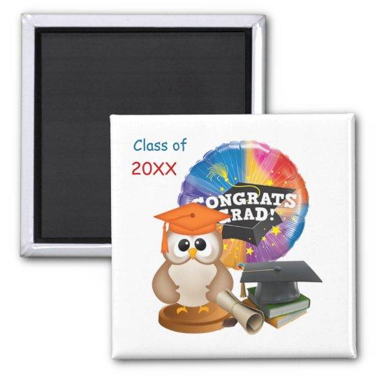 Graduation Owl, Mortar cap, books, diploma Magnet
