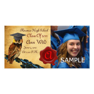 GRADUATION OWL PARCHMENT AND RED WAX SEAL MONOGRAM PERSONALISED PHOTO CARD