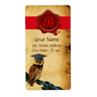 GRADUATION OWL PARCHMENT AND RED WAX SEAL MONOGRAM SHIPPING LABEL