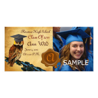 GRADUATION OWL PARCHMENT BROWN WAX SEAL MONOGRAM CUSTOMIZED PHOTO CARD
