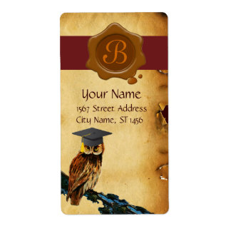 GRADUATION OWL PARCHMENT, BROWN  WAX SEAL MONOGRAM SHIPPING LABEL