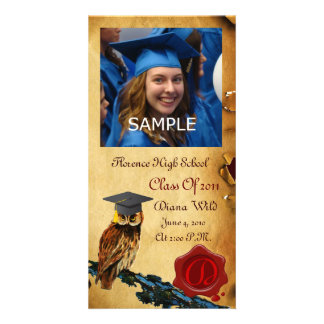 GRADUATION OWL RED BROWN WAX SEAL MONOGRAM PICTURE CARD