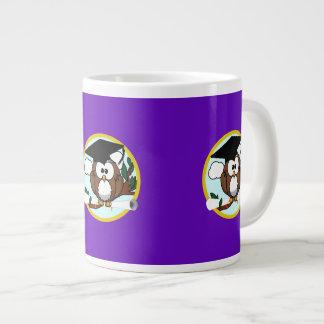 Graduation Owl w/ Cap & Diploma - Purple and Gold Jumbo Mug