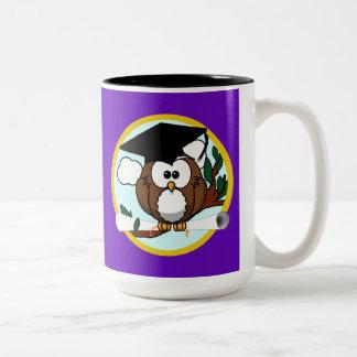 Graduation Owl w/ Cap & Diploma - Purple and Gold Two-Tone Coffee Mug