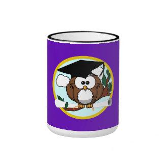 Graduation Owl w/ Cap & Diploma - Purple and Gold Ringer Mug