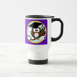 Graduation Owl w/ Cap & Diploma - Purple and Gold Travel Mug