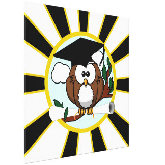 Graduation Owl w/ School Colors Black and Gold Gallery Wrap Canvas