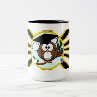 Graduation Owl w/ School Colors Black and Gold Two-Tone Coffee Mug
