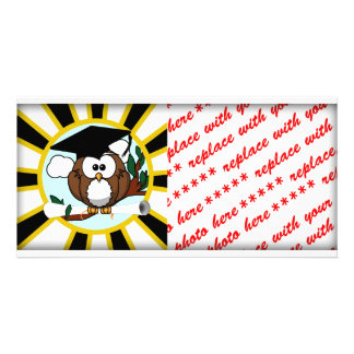 Graduation Owl w/ School Colors Black and Gold Photo Cards