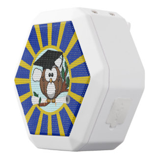 Graduation Owl With Blue And Gold School Colors White Boombot Rex Bluetooth Speaker