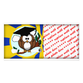 Graduation Owl With Blue And Gold School Colors Custom Photo Card