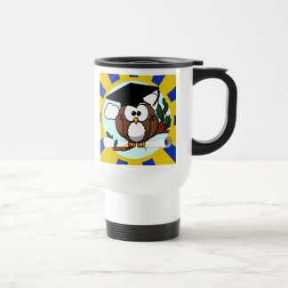 Graduation Owl With Blue And Gold School Colors 15 Oz Stainless Steel Travel Mug
