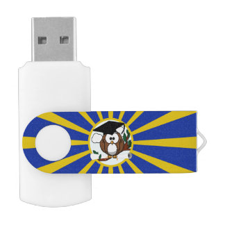 Graduation Owl With Blue And Gold School Colors Swivel USB 2.0 Flash Drive