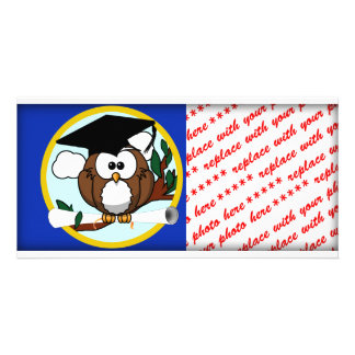 Graduation Owl With Cap & Diploma - Blue and Gold Custom Photo Card