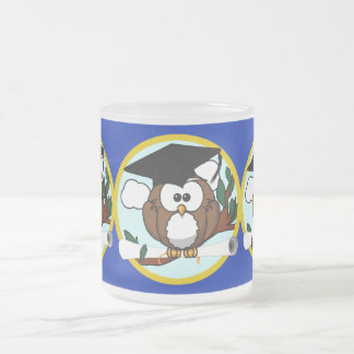 Graduation Owl With Cap & Diploma - Blue and Gold Frosted Glass Mug