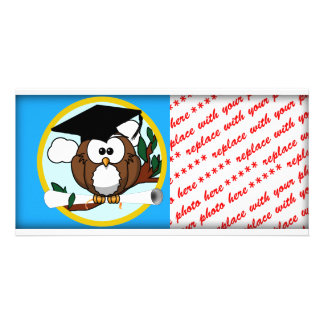 Graduation Owl With Cap & Diploma - Blue and Gold Photo Greeting Card