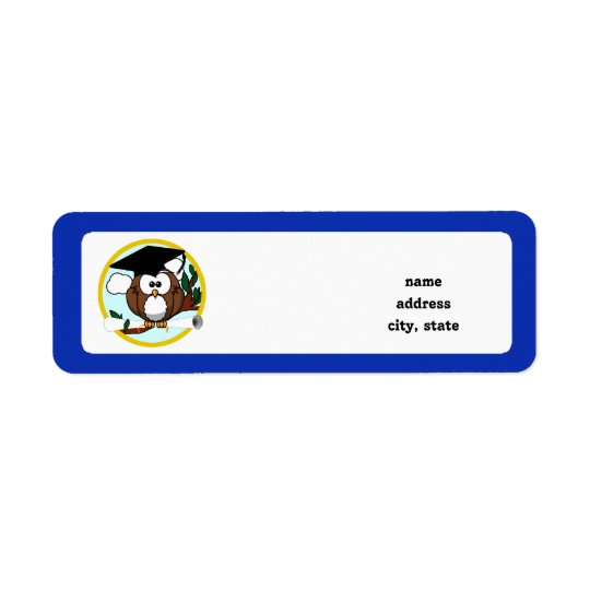 Graduation Owl With Cap & Diploma - Blue and Gold Return Address Label
