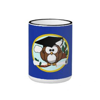 Graduation Owl With Cap & Diploma - Blue and Gold Ringer Mug