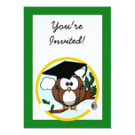 Graduation Owl With Cap & Diploma - Green and Gold 13cm X 18cm Invitation Card