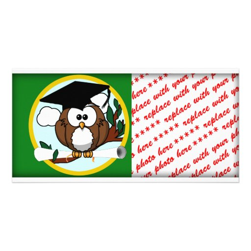 Graduation Owl With Cap & Diploma - Green and Gold Personalized Photo Card