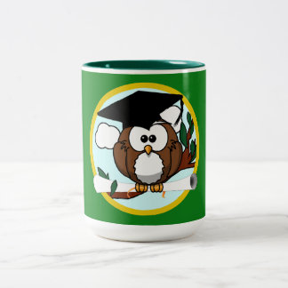 Graduation Owl With Cap & Diploma - Green and Gold Two-Tone Mug