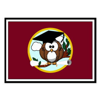 Graduation Owl With Cap & Diploma - Red and Gold Large Business Cards (Pack Of 100)