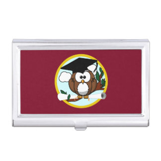 Graduation Owl With Cap & Diploma - Red and Gold Business Card Holders