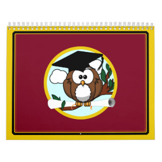 Graduation Owl With Cap & Diploma - Red and Gold Calendars
